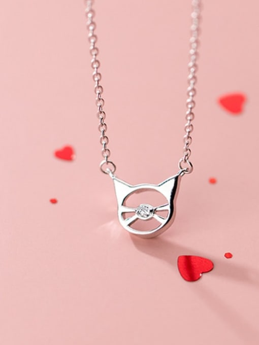 Rosh 925 Sterling Silver  Minimalist Cute Hollow Cat Pendant Necklace 1