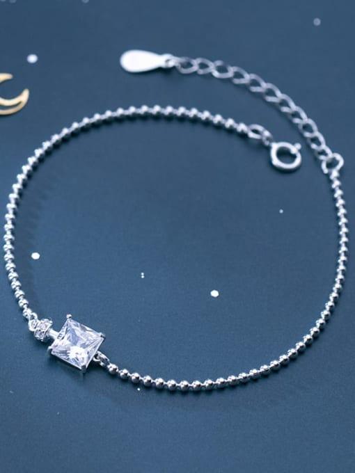 Rosh 925 Sterling Silver Cubic Zirconia White Square Minimalist Beaded Bracelet 2