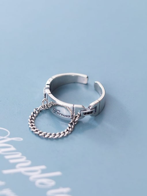 Rosh 925 Sterling Silver Round Vintage Free Size Band Ring 3