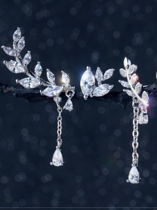 Rosh 925 Sterling Silver Cubic Zirconia Asymmetry Leaf Dainty Drop Earring 2