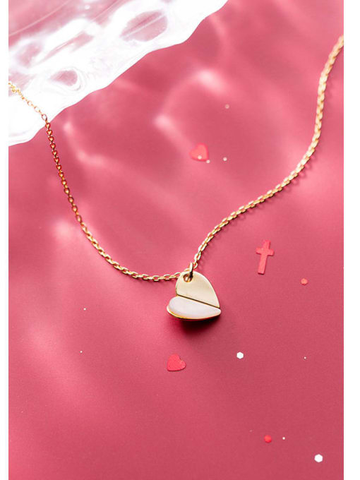 Rosh 925 Sterling Silver Shell Beige  Simple heart pendant Necklace