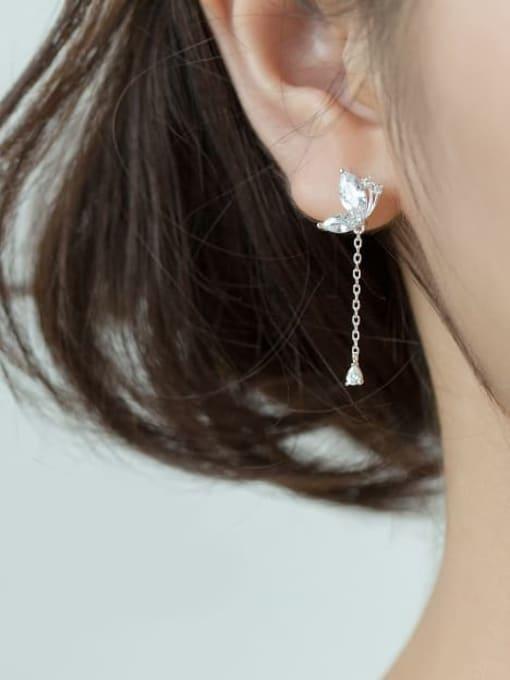 Rosh 925 Sterling Silver Cubic Zirconia Butterfly Tassel Dainty Drop Earring 2