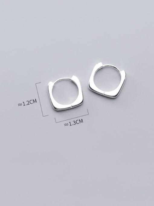 Rosh 925 Sterling Silver Hollos Geometric Minimalist Huggie Earring 3