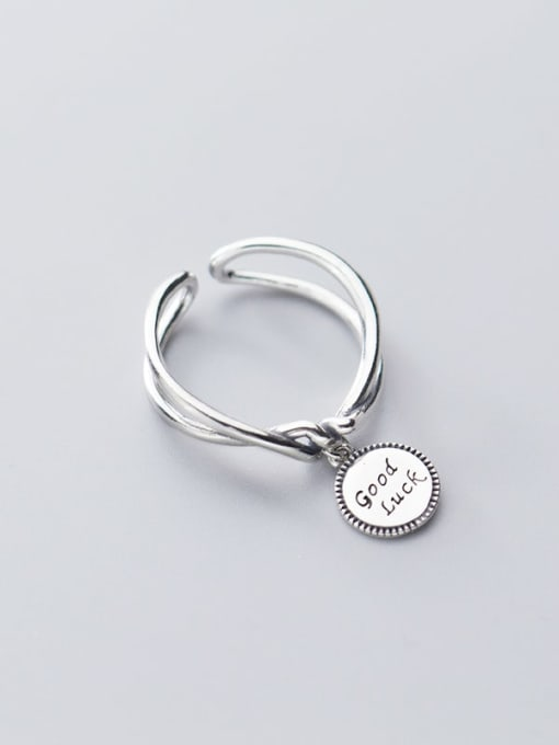Rosh 925 Sterling Silver  Vintage Retro Double Knot Round Card LUCK Letter Band Ring 1