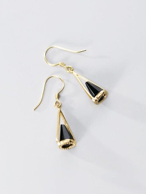 Rosh 925 Sterling Silver Black Acrylic Geometric Cone Trend Hook Earring 2