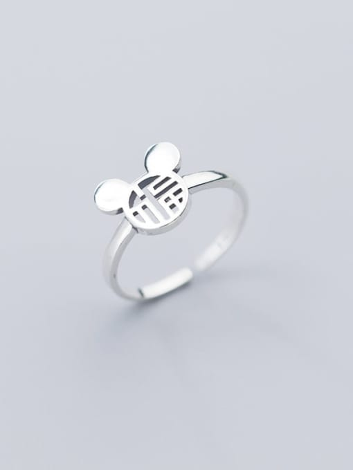 Rosh 925 Sterling Silver Minimalist Hollow Mouse  Free Size Ring 1