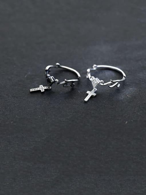 Rosh 925 Sterling Silver Vintage  Cross Free Size Midi Ring 1