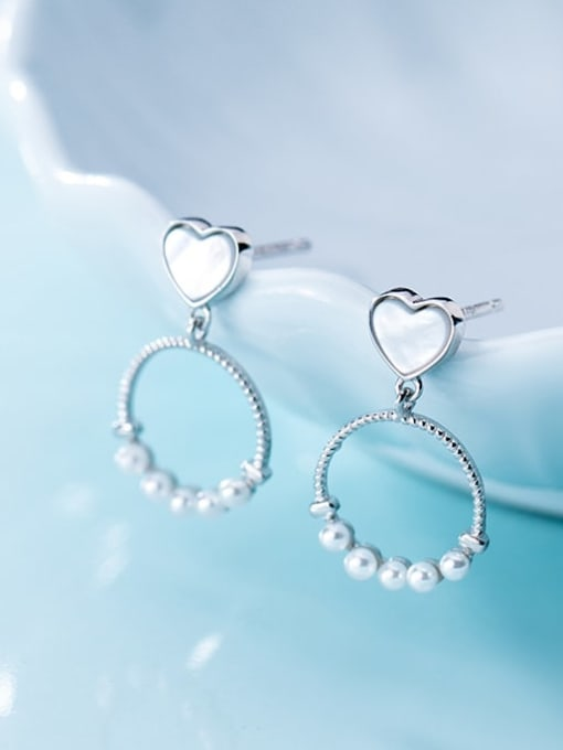 Rosh 925 Sterling Silver Imitation Pearl  Heart Round Trend Drop Earring 0