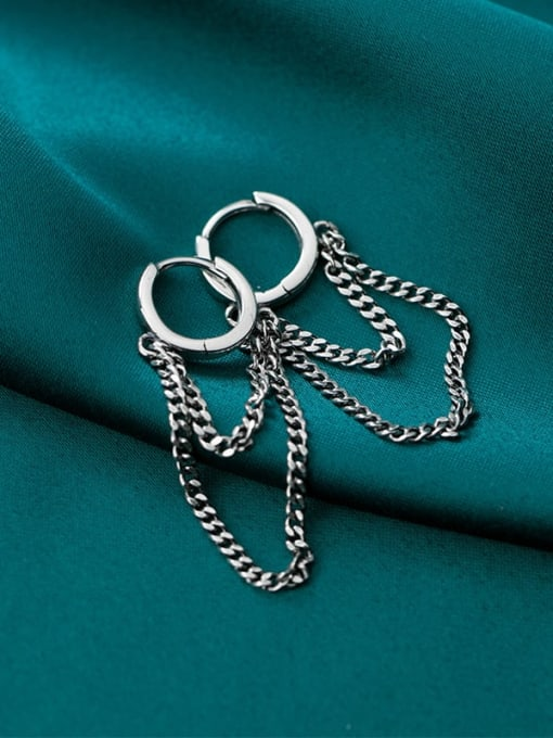 Rosh 925 Sterling Silver Vintage Retro round tassel chain  Huggie Earring 1