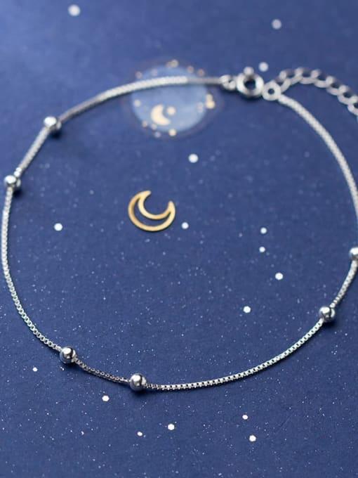 Rosh 925 Sterling Silver Bead Round Minimalist Beaded Bracelet