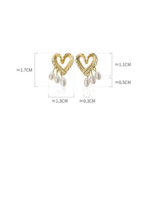 Rosh 925 Sterling Silver Imitation Pearl  Heart Minimalist Stud Earring 3