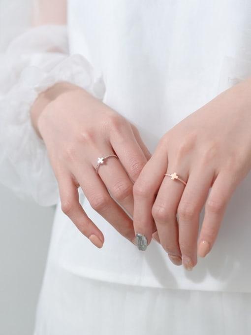 Rosh 925 Sterling Silver  Minimalist  Fashion Cross Couple Band Ring 1
