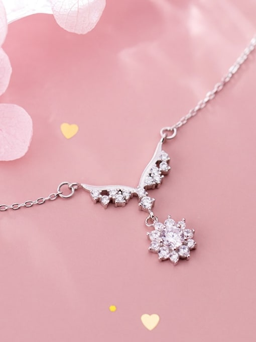 Rosh 925 Sterling Silver Personality wings small flowers diamonds Necklace
