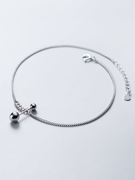 Rosh 925 Sterling Silver  Minimalist  Asymmetrical bead lever  Anklet 1