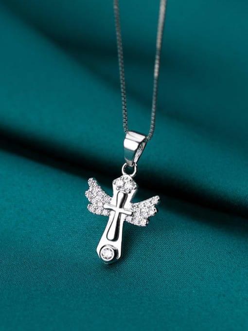 Rosh 925 sterling silver rhinestone minimalist cross pendant 2