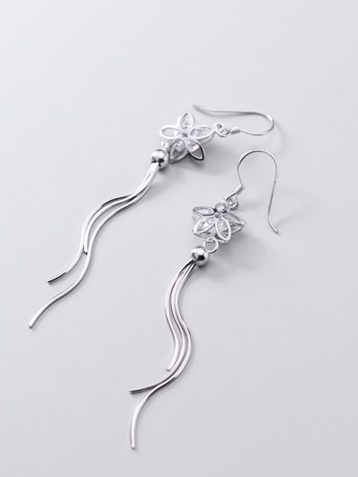 Rosh 925 Sterling Silver Cubic Zirconia White Tassel Minimalist Threader Earring 2