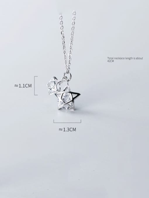 Rosh 925 Sterling Silver Cubic Zirconia simple multi diamond Pentagram fashion hollow Necklace 3