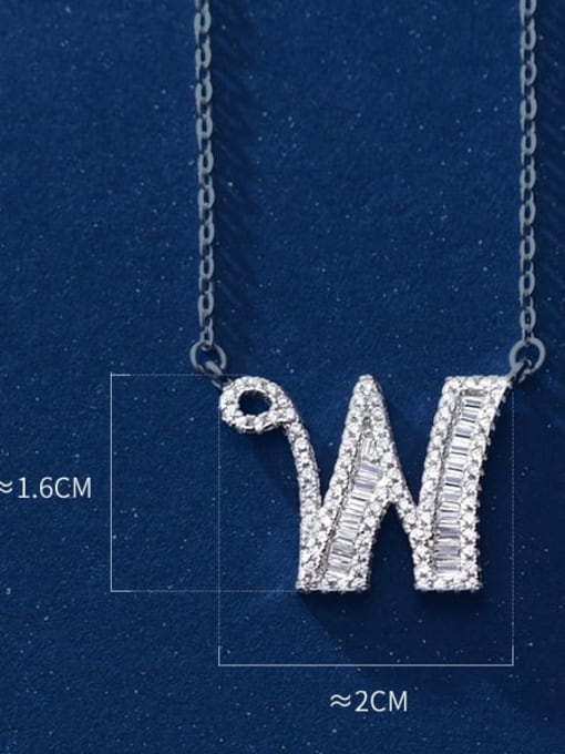 letter W 925 Sterling Silver Simple Fashion full diamond letters pendant  Necklace