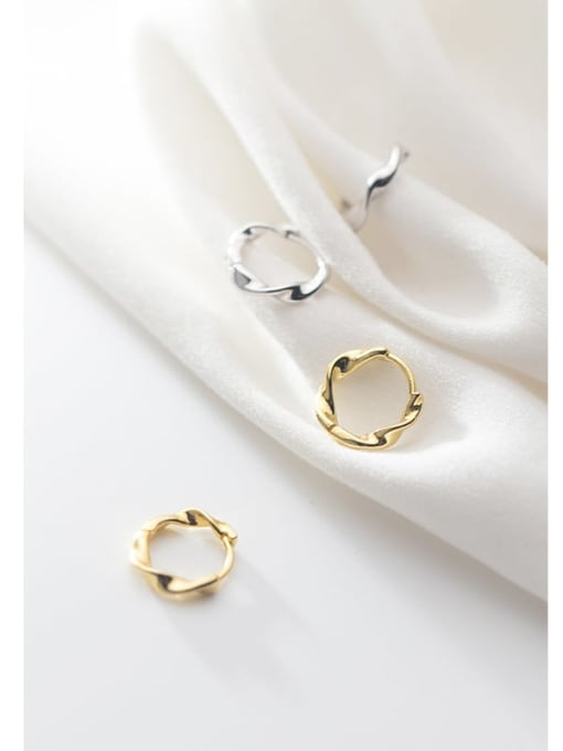 Rosh 925 Sterling Silver Round Minimalist Huggie Earring