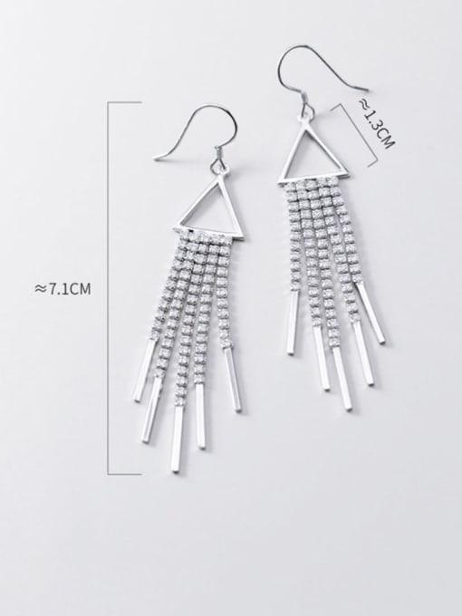 Rosh 925 Sterling Silver Cubic Zirconia  Geometric Classic Long Tassel  Hook Earring 2