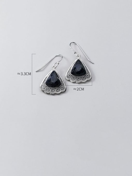 Rosh 925 Sterling Silver Resin Black Triangle Vintage Hook Earring 2