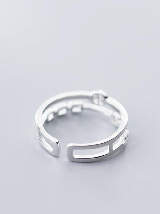 Rosh 925 Sterling Silver Hollow Geometric Minimalist Free Size Ring 2