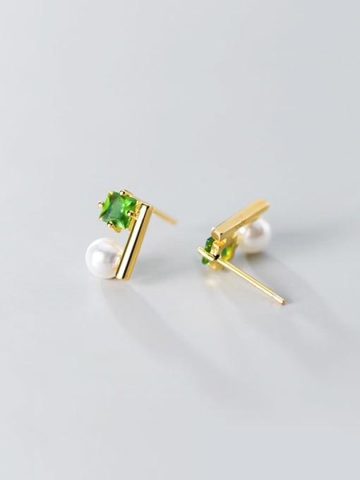 Rosh 925 Sterling Silver Cubic Zirconia Green Square Minimalist Stud Earring 3