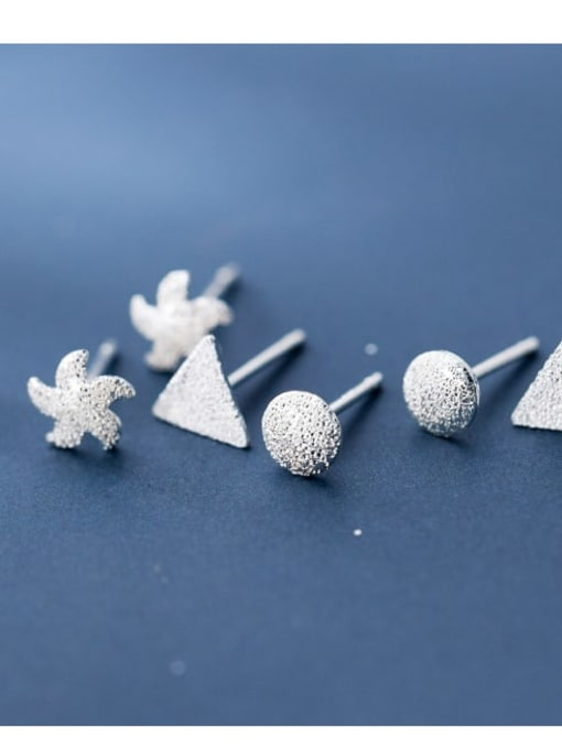 Rosh 925 Sterling Silver Smooth Geometric Minimalist Stud Earring 2
