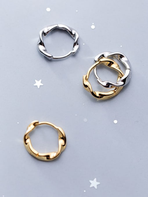 Rosh 925 Sterling Silver Hollow  Round Minimalist Huggie Earring