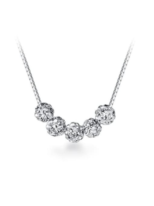 Rosh 925 Sterling Silver Simple removable diamond pendant Necklace