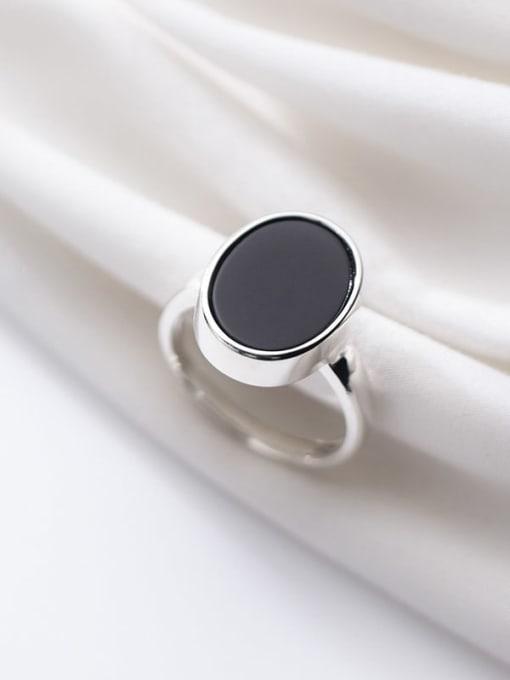 Rosh 925 sterling silver minimalist  black  round  acrylic Free Size ring 0