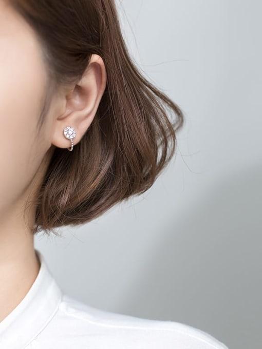 Rosh 925 Sterling Silver Cubic Zirconia Round Minimalist Huggie Earring