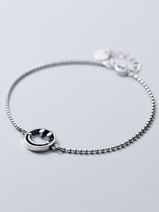 Rosh 925 Sterling Silver Retro style cute smiley face chain Bracelet 2
