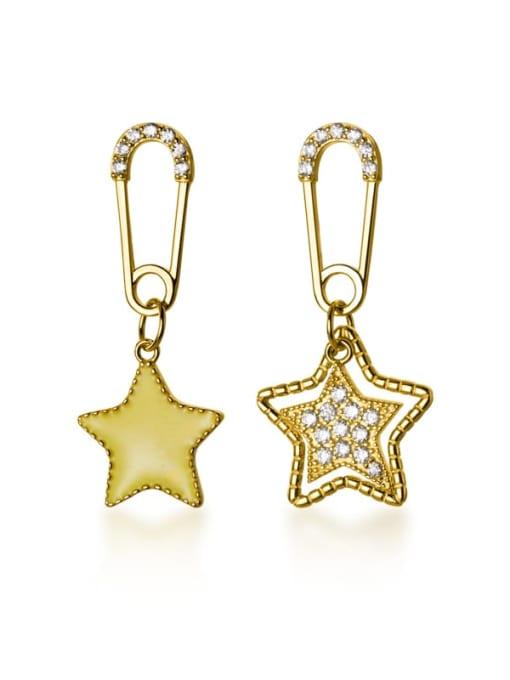 Rosh 925 Sterling Silver Rhinestone Yellow Star Trend Huggie Earring 3