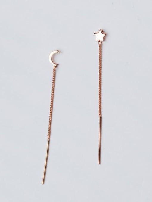 Rosh 925 Sterling Silver  Minimalist Star Moon  Tassel Ear Line  Earring 1