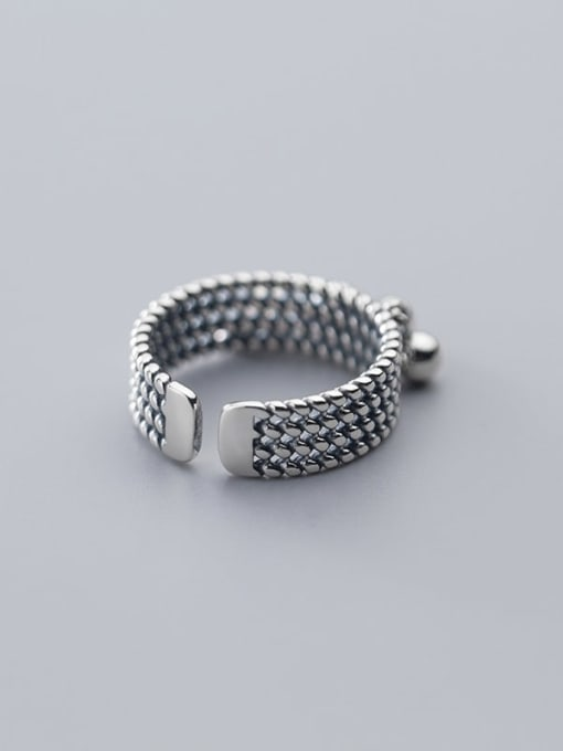 Rosh 925 Sterling Silver   Retro Multilayer Twist Glossy Beads Free Size Ring 4