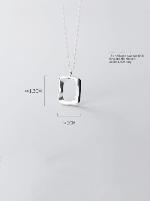 Rosh 925 Sterling Silver Simple glossy hollow geometric pendant Necklace 4