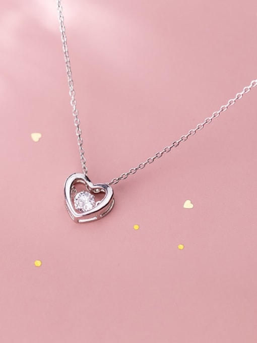 Rosh 925 Sterling Silver Cubic Zirconia Simple hollow heart pendant  Necklace 1