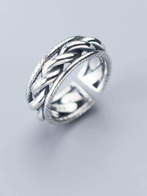 Rosh 925 Sterling Silver  Retro twist multilayer  Free Size Ring 0