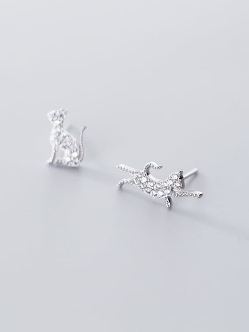 Rosh 925 Sterling Silver Cubic Zirconia Cat Cute Stud Earring 2