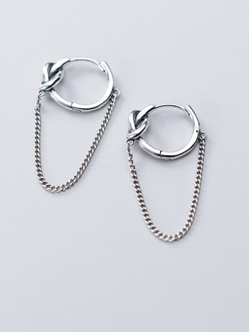 Rosh 925 Sterling Silver  Vintage Round personality chain earrings 1
