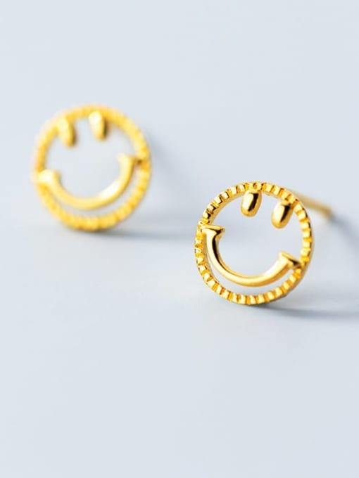 Rosh 925 Sterling Silver  Minimalist  Simple golden smiley Stud Earring 0