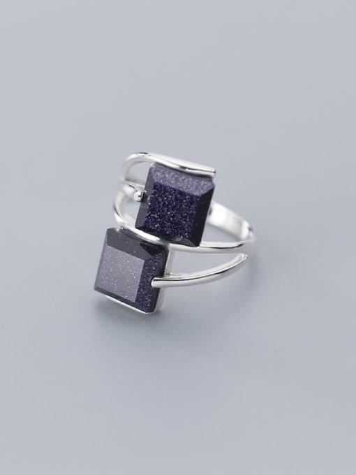 Rosh 925 Sterling Silver Obsidian Black Geometric Minimalist Free Size  Ring 2