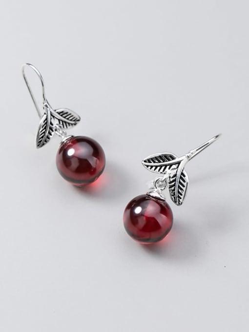 Rosh 925 Sterling Silver Garnet Red Leaf Vintage Hook Earring