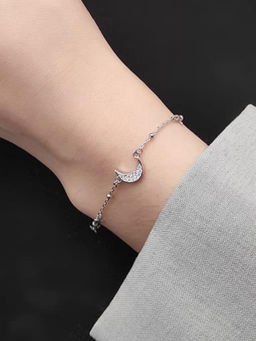 Rosh 925 Sterling Silver  Minimalist  Star Moon Link Bracelet 2