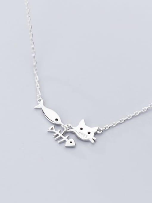 Rosh 925 Sterling Silver Fashion cute cat fish pendant Necklace 2