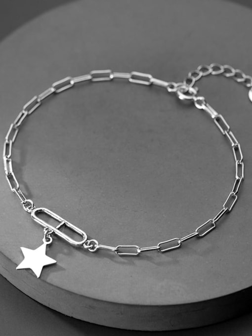 Rosh 925 Sterling Silver Personality oval buckle five-pointed star  Link Bracelet 1