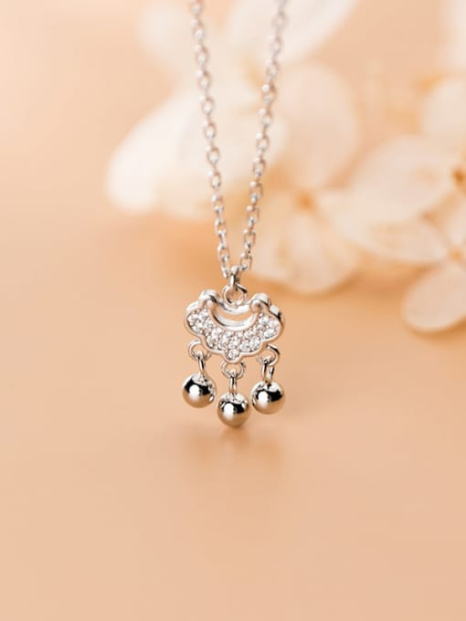 Rosh 925 Sterling Silver Cubic Zirconia  Simple fashion diamond long life lock  Necklace 1