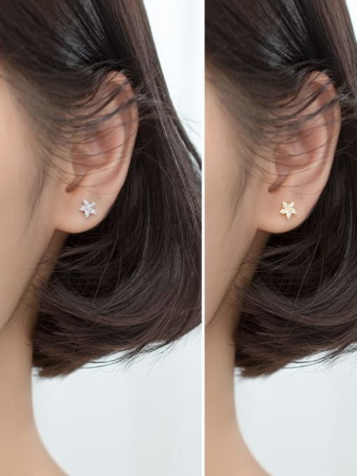 Rosh 925 sterling silver cubic zirconia  flower minimalist stud earring 2