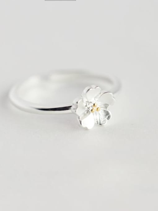 Ring 925 Sterling Silver Flower Minimalist Necklace